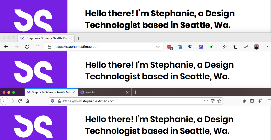 alt: Font rendering in, from top to bottom, Safari. Edge and Firefox